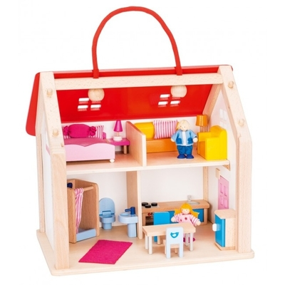Dollhouse bag with accessories, wood