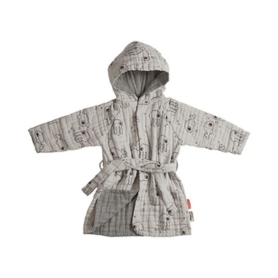 Done By Deer Sea Friends bathrobe 1-2 year-olds, grey