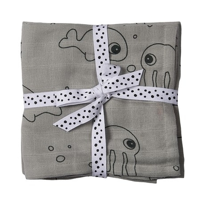 Done By Deer Sea Friends gauze 2-set, grey