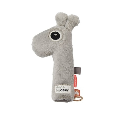 Done By Deer Squeaker Raffi rattle, gray