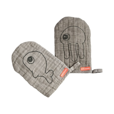 Done By Deer wash cloth, 2pcs Sea friends, grey
