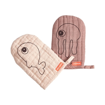 Done By Deer wash cloth, 2pcs Sea friends, powder