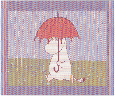 "Ekelund Moomin kitchen towel ""Rain"", fabric, 30x25cm"