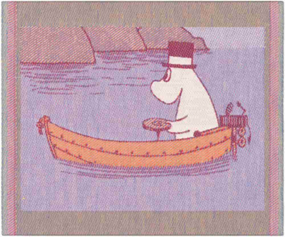 "Ekelund Moomin kitchen towel ""Row The Boat"", fabric, 30x25"