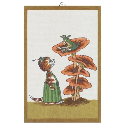 "Ekelund Pettson and Findus big kitchen towel  ""PYRET"" 40x60cm"