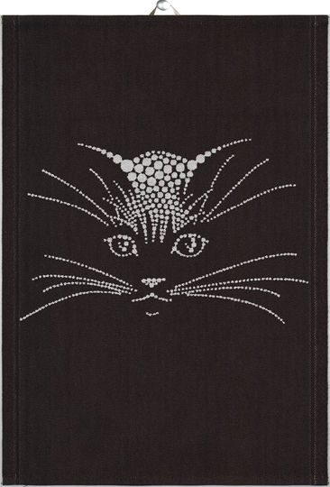 Ekelund towel 35x50cm Silver Cat, black