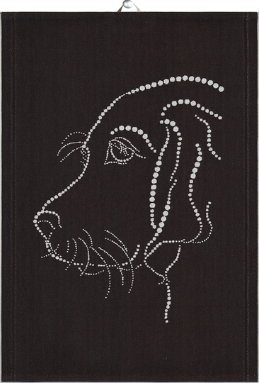 Ekelund towel 35x50cm Silver Dog, black