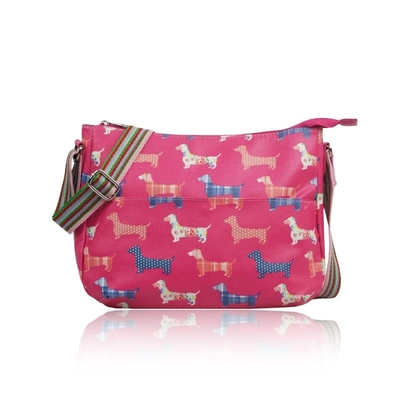 Fabric shoulder bag, Dachshunds, fuchsia