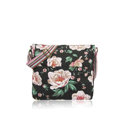 Fabric shoulder bag, Flowers, black