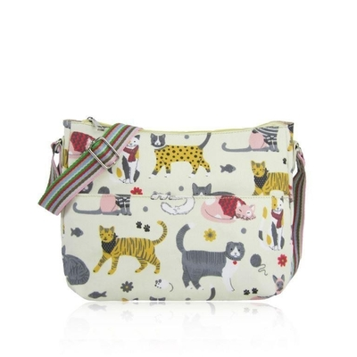 Fabric shoulder bag, cats, beige