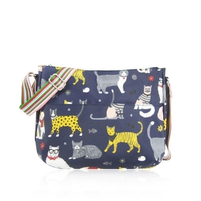Fabric shoulder bag, cats, dark blue