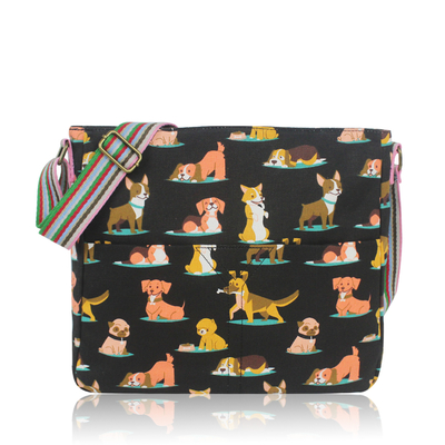 Fabric shoulder bag, dogs, black