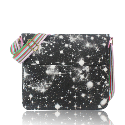 Fabric shoulder bag, space, black