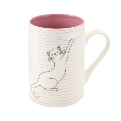 Felines cat mug, Asking Fur Trouble, pink