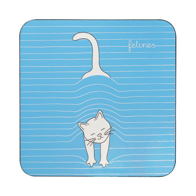 Felines glass Coaster, Peekat-Boo!