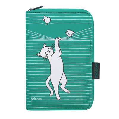 Felines wallet Cat In The Act, green