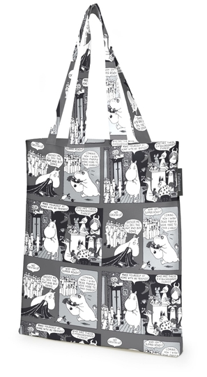 Finlayson Coctail Moomin shopping bag, black/white