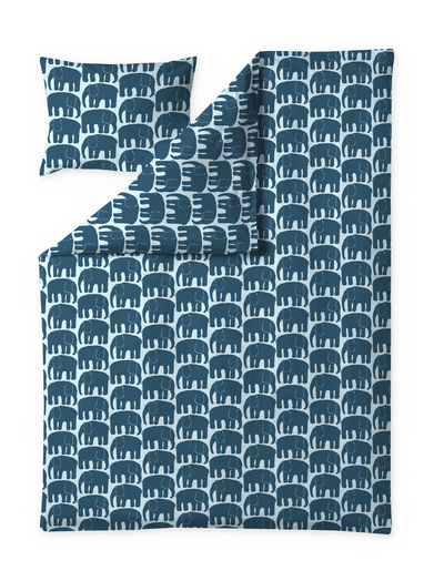 Finlayson Elephant duvet cover set, petrol / blue