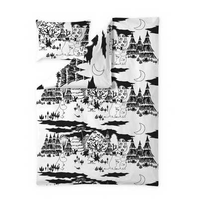 Finlayson Evening Moomin duvet cover set, black-and-white