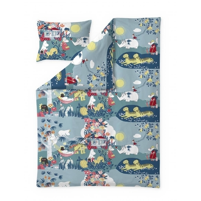 Finlayson Jungle Moomin duvet cover set, blue/coral