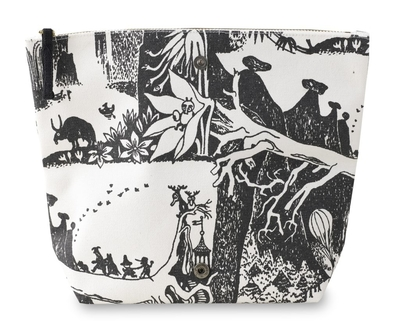 Finlayson Moomin Adventure make-up bag, large, black/white
