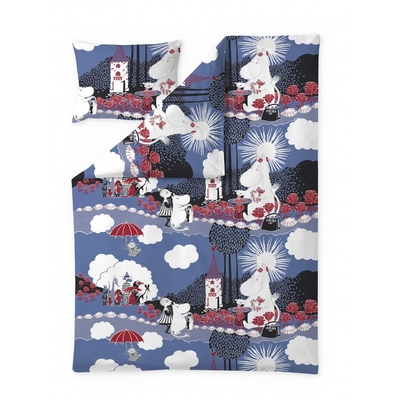Finlayson Moomin Rose duvet cover set, blue/red