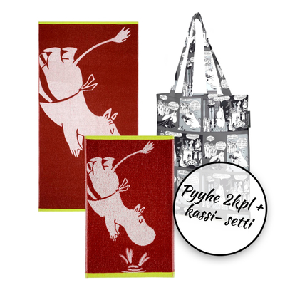 Finlayson Moominmamma towel 2pcs + bag set, red