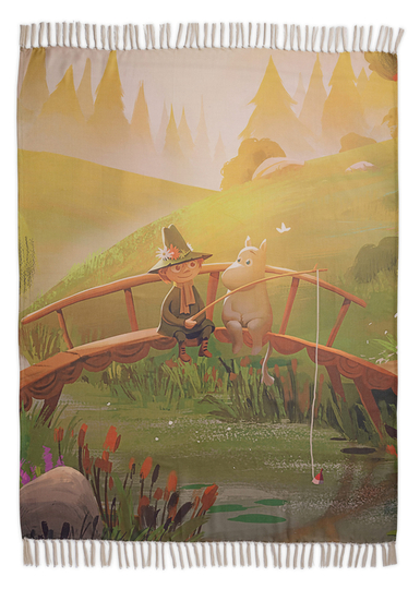 Finlayson Moominvalley's Spring throw blanket, colorful