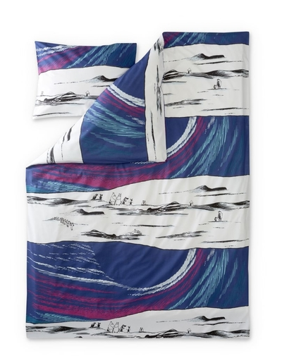 Finlayson Sky Moomin duvet cover set, contains a Moomin story