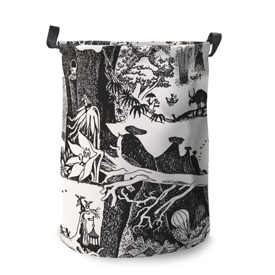 Finlayson basket Moomin Adventure, large, black/white