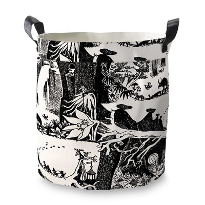 Finlayson basket Moomin Adventure, small, black/white