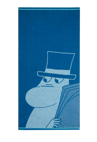 Finlayson bath towel Moominpappa reading, 70x140cm, blue