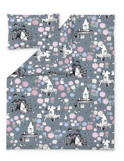 Finlayson children's duvet cover set Moominmamma daydreaming, grey