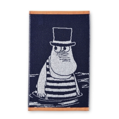 Finlayson hand towel 30x50cm, Moominpappa swimming, blue
