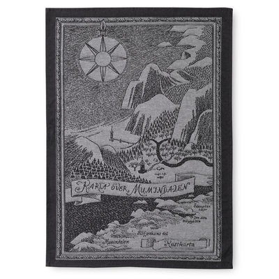 Finlayson kitchen towel Map of Moominvalley, black/white