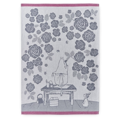 Finlayson kitchen towel Moominmamma's roses, black/white