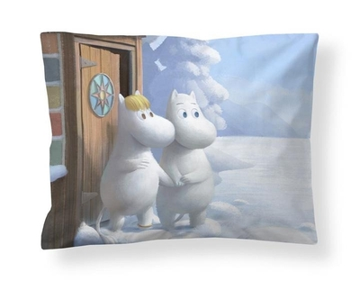 Finlayson satin pillowcase, Moomintroll and Snorkmaiden