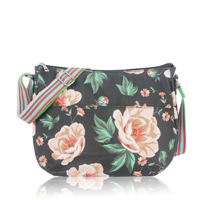 Floral shoulder bag, black