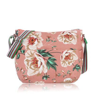 Floral shoulder bag, rose
