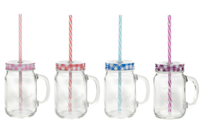 Glass drink bottle with a lid and a straw, different colours