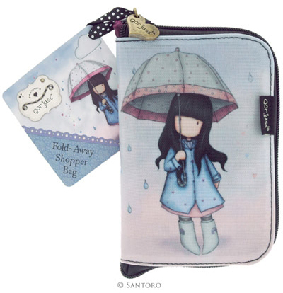 Gorjuss™ foldable shopping bag, Puddles of Love