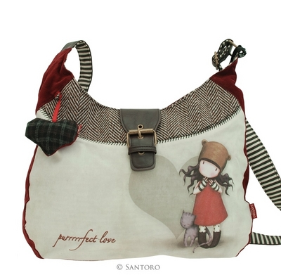 Gorjuss Slouchy Bag - Olkalaukku Purrrrrfect Love