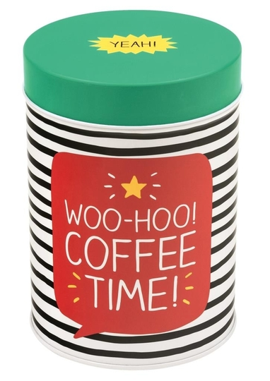 Happy Jackson round tin, Woo-hoo! Coffee time!