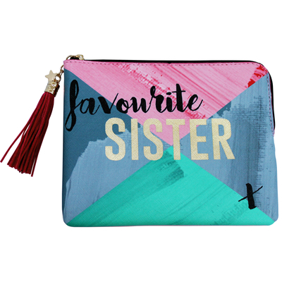 "House of Disaster Ta-daa ""Favourite Sister"" pouch in a gift box"