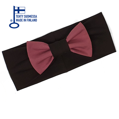 HuiGee Combo women's ribbon scarf/headband, black/rose