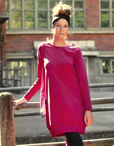 HuiGee Jazz tunic-dress, fuchsia/black pockets XS-3XL