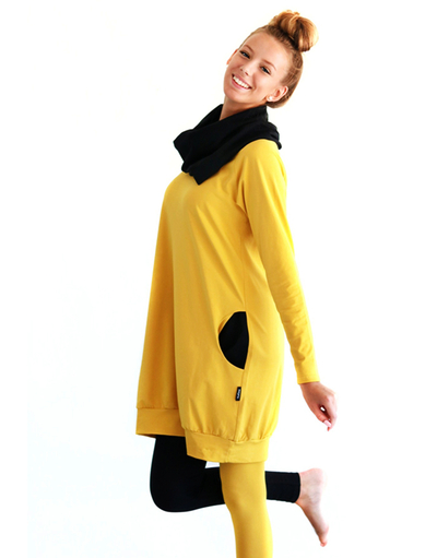 HuiGee Jazz tunic-dress, yellow/black pockets XS-3XL