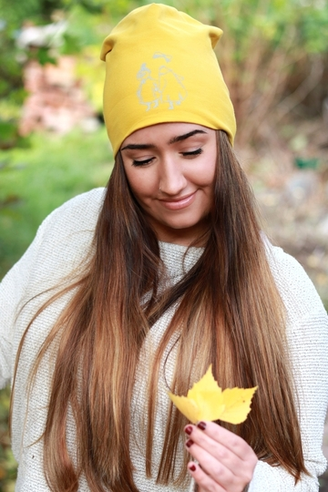 HuiGee Moomin reflective beanie, Little My and Ninny, yellow, 2 sizes