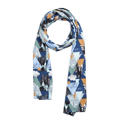 HuiGee Moomin women's long scarf Mountains, blue