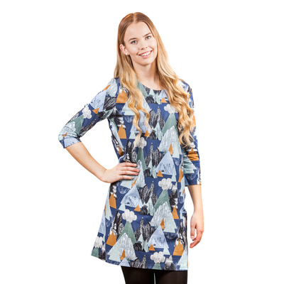 HuiGee moomin women's dress, Mountains, blue